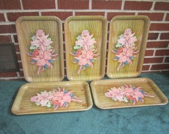 Vintage 1950s Fun Lot of 5 Metal TV Snack Trays with Pink Orchid Floral Design