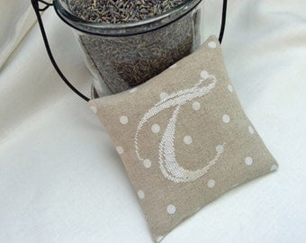 Monogrammed Lavender Sachet /Hand Stitched Initial on Linen /Bridesmaids Gift /Organic Home Fragrance