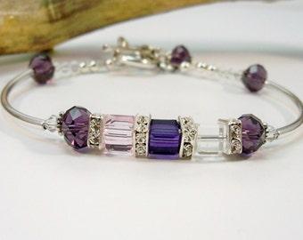 Silver Bracelet, Crystal Bracelet,  Minimalist Jewelry, Silver Jewelry, Swarovski Crystal, Cuff Bracelet, Curve Tube Bracelet, Gifts for Her