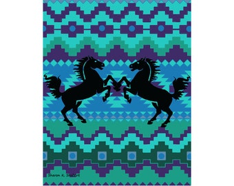 Southwestern Horse Art, Stylized Pony Silhouettes, Native American Totem Animal, Aqua Blue, Western Wall Home Decor, 11 x 14 Giclee Print