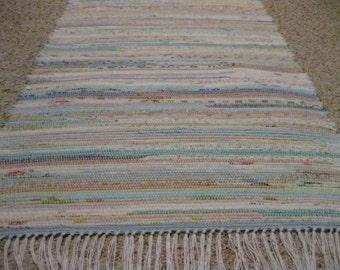 Handwoven Pastels Rag Rug 25 x 54