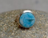 Larimar Sterling Silver Ring. Sky Blue Larimar Ring. Silversmith Ring. Minimalist Ring. Size 6.0.  Fine Jewelry