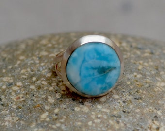 Larimar Sterling Silver Ring. Sky Blue Larimar Coin Ring. Silversmith. Minimalist Ring. Size 6.0.  Fine Jewelry