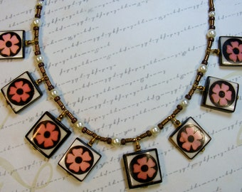 Pink Flower Batik Necklace-metal bone and glass, 18 1/4 inches or 46 cm