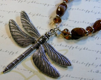 Silver Dragonfly Necklace-silver-plated, brown agate and glass, 20 inches or 51 cm