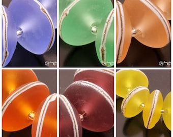 Handmade Lampwork Beads SeaGlass Etched Silvered Ivory Disc Set Blue Purple Yellow Green Orange Lampwork by Heather Behrendt BHV SRA MTO