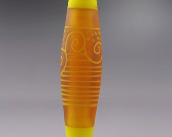 Topaz Orange Frosted Sea Glass Cylinder Yellow Scrollwork Lines Dots Focal Artisan Lampwork Bead Handmade Glass Heather Behrendt  SRA 3550