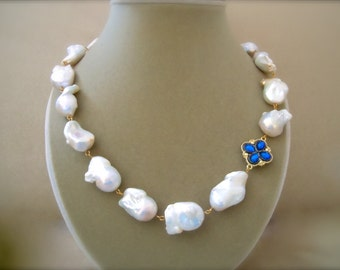 Stella -- Huge Akoya Pearl & Royal Blue Accent Focal Piece -- One of a Kind