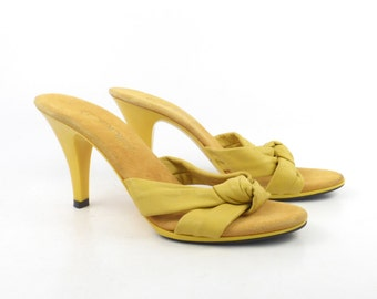 Yellow Plastic Heels Vintage 1970s Shoes Connie Disco Leather High Heel Sandals Women's size 7