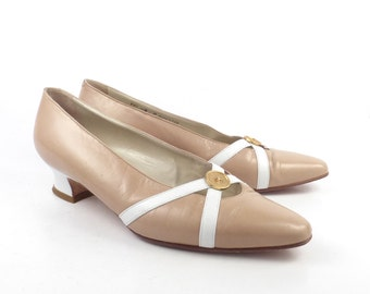 Bally Heels Shoes Vintage 1980s Tan and White Leather Women's size 8 M