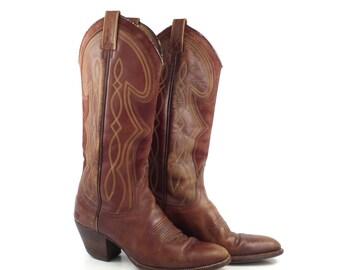 Cowboy Boots Vintage 1970s Women's Brown Leather Dan Post size 5 1/2 C