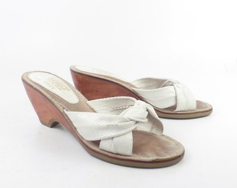 Rapallo Wedge Sandals Vintage 1970s White Leather High Heel Women's size 7