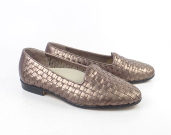 Woven Leather Shoes Vintage 1980s Trotters Bronze Gold Women's size 6 W