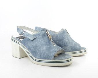 Denim Platform Sandals Vintage 1990 Vinyl Shoes High Heel Women's size 8