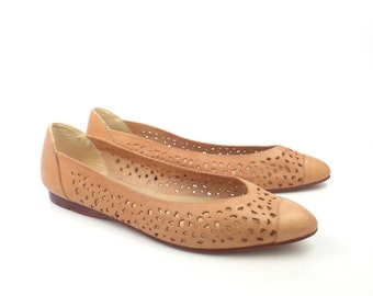 Cutout Leather Shoes Brown Vintage 1980s Flats Loafers Women's size 10