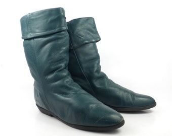 Green Leather Boots Vintage 1980s Bastier Faux Fur Lined Winter Flat Women's size 7