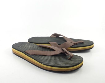 1980s Flip Flops Vintage Sandals Yellow Black Stripe Foam 80s Eighties Scott Men's