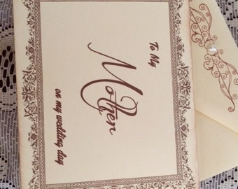 To My Mother on my Wedding Day Card, Mom Card, Mother of the Bride Card