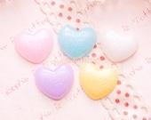 Kawaii Decoden - Glittery Pastel Puffy Heart Cabochon - 20 pieces