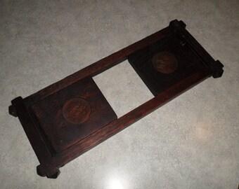 Arts & Crafts Era folding oak Bookend Holder carved round medallion