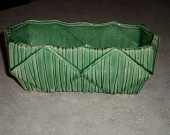 McCoy Pottery textured diamond green footed Planter holder