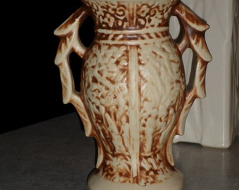 McCoy Pottery Rustic antiqued cream ivory & sienna brown leaf handle cameo VASE