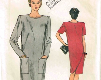 Loose Fitting Straight Pullover Dress Sewing Pattern Vogue 8733 Vintage 1980s Sewing Pattern Size 6 Bust 30 1/2 inch Misses Asymmetrical