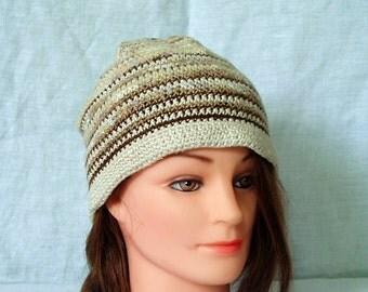 Crochet - cotton -wool - linen - warm natural fiber hat