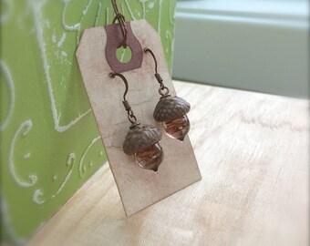 Glass Acorn Earrings - Coffee Swirl by Bullseyebeads