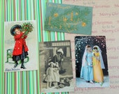 Frohliche Weihnacten German Merry Christmas Greetings in Antique Postcard Lot No 63 Lot of 4 Real Photos