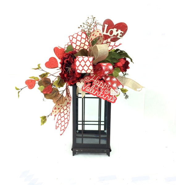 Valentines Day Lantern Swag Rustic Valentines Day Decor