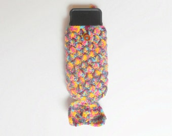 Crochet iPhone 6 Mermaid Tail Cozy in Pink, Turquoise, and Yellow, Cell Phone Slip Cover Case, ready to ship.