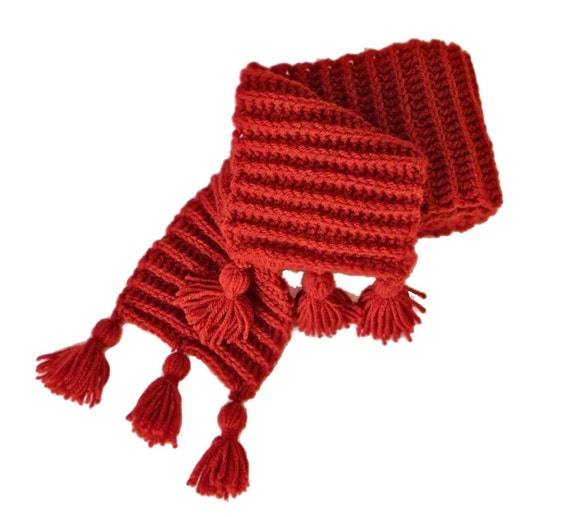 Scarf Crochet Ribbed, Paprika with Tassels, Unisex, Long and Warm
