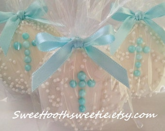 Blue Cross Chocolate Covered Oreos Cookies Baptsim Favors Christening Communion Cookies Baby Shower Cross Cookies Confirmation Favors 1 DOZ.