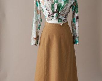 70's Camel Woo Skirt XS