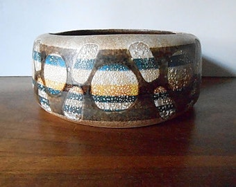 Modernist LAPID Israel Abstract Art Pottery Bowl, Brown, Tan, Blue, Yellow