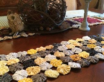 Yellow gold and gray fabric Yoyo tablerunner