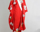 Vintage 1970's Japanese Red Silk-Brocaded and Embroidered Wedding Kimono Gown