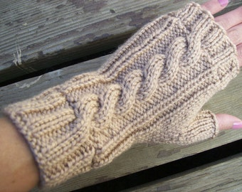 Acrylic Cable Knit Fingerless Gloves Almond