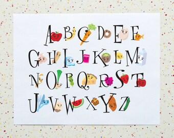 Alphabet Kitchen - Food Alphabet Downloadable Printable PDF Art Print