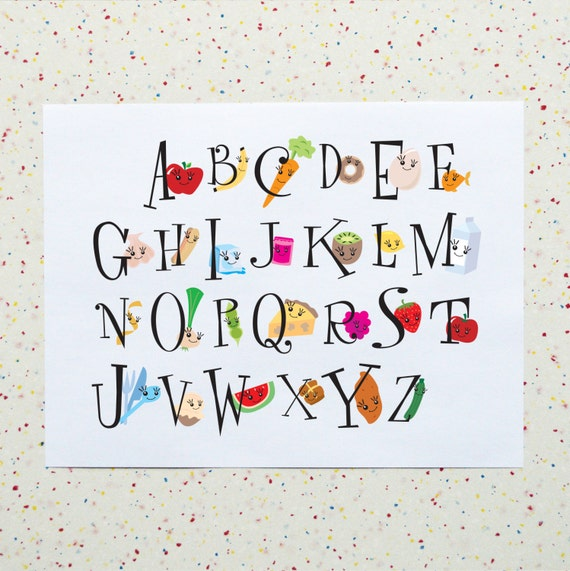 Kitchen Poster Food As Alphabet With Food Name: Alphabet Kitchen Food Alphabet Downloadable Printable PDF