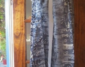 Galliano Silk Scarf Long Printed Abstract Grey Designer Accessory NOS Made in Italy