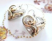 Sassy Swirls Valentine Heart Two Tone Earrings