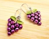 Purple Wine Grapes on Vine Earrings Hand Painted Enamel