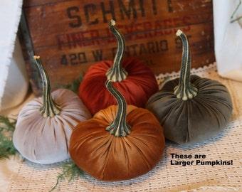LARGE Scented Velvet Pumpkins, SET of 4:  Rust, Copper, Olive Green, Light Taupe Brown