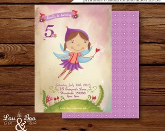 Esmeralda the Flower Fairy Custom birthday party invitation - illustrated purple fairy birthday party invitation