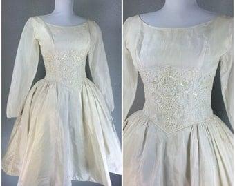 Vintage 1950s Dress White Lace Beaded Full Skirt Wedding Dress