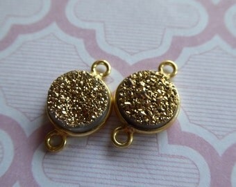 Gem Connectors Links, 11 mm, GOLD, 24k Vermeil or Sterling Silver, Bezel Drusy Druzy Charm Pendant, ll gcl.d9 gc