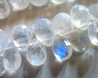 Shop Sale.. MOONSTONE Pear Briolettes, Luxe AAA, 4 pcs, 11-12 mm, june birthstone, faceted moonstone brides bridal somethng blue 1112