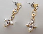 Rhinestone Earrings, Vintage Earrings, Dangle Earrings, Vintage Jewelry, Wedding Earrings, Clear Rhinestone, Dangle Earrings, Gold Tone